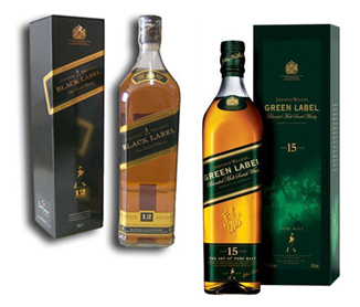 Garrafa de Green e Black Label