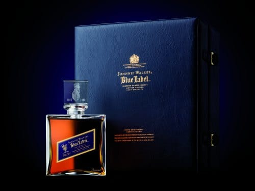Garrafa e caixa do Blue Label Baccarat