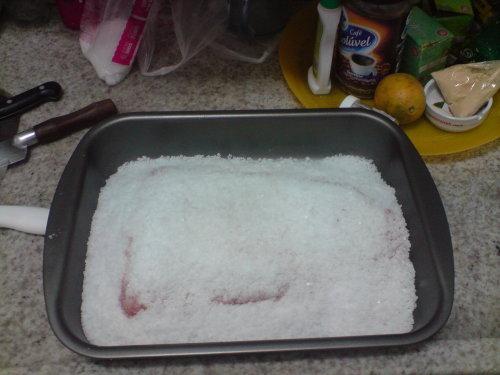 Picanha coberta com sal grosso