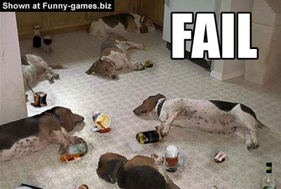 Cachorros caídos de bêbados