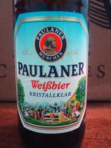 Rótulo da cerveja Paulaner Kristallklar