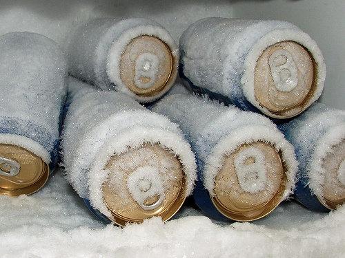 Várias latas no congelador