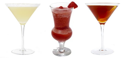 Drinks Daiquiri, Margarita e Manhattan