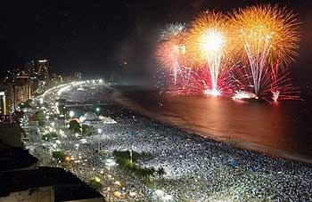 Fogos de ano novo em Copacabana