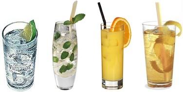 Drinks Gin Tônica, Mojito, Screw Driver e Horser's Neck