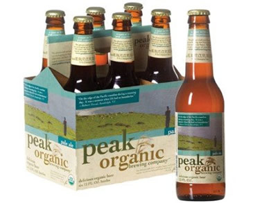 Garrafas da Peak Organic Beer