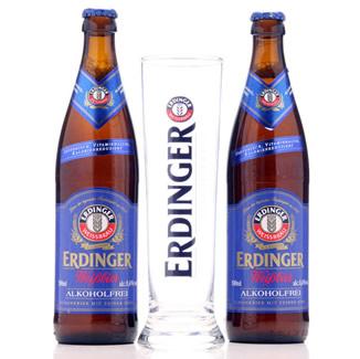 Kit Erdinger com duas garrafas e um copo