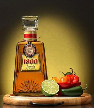 Tequila 1800 com pimentas