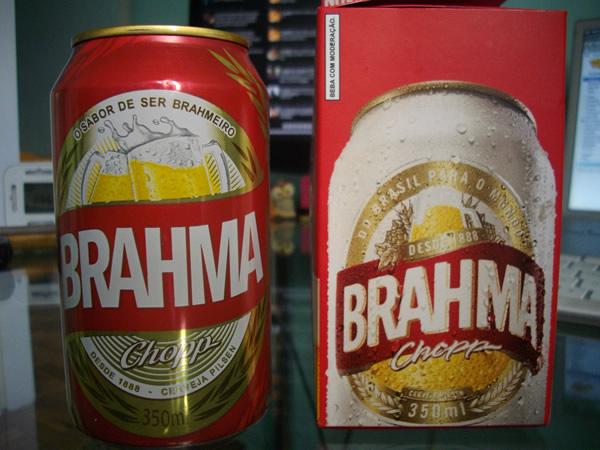 Nova lata da Brahma com uma caixa