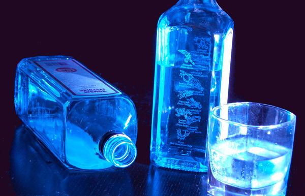 Garrafas e copo de Gin