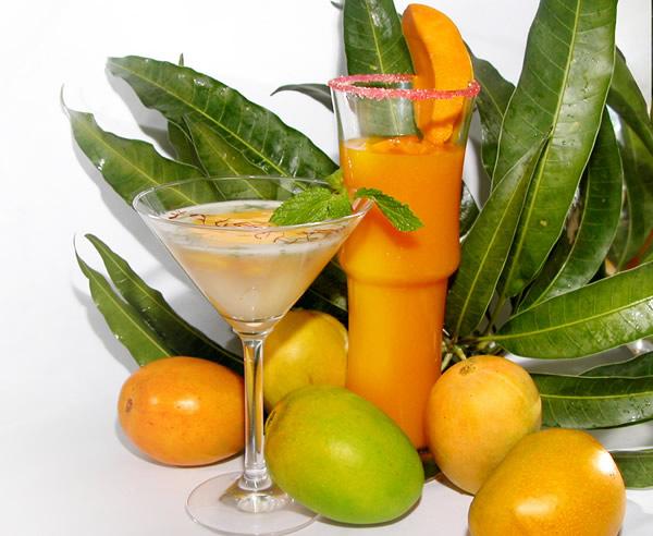Drink de manga com plantas