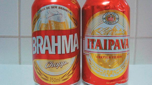Latas vermelhas: Brahma e Itaipava