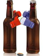 Duas garrafas brigando