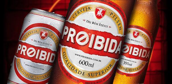 Latinha e garrafa da Cerveja Proibida