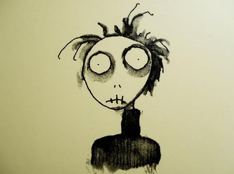 Desenho de um boneco assustado