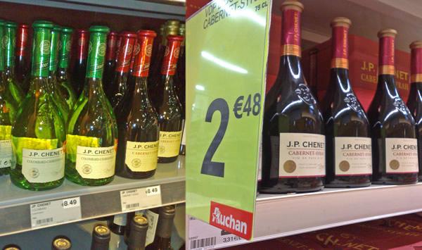 Garrafas de vinho barato