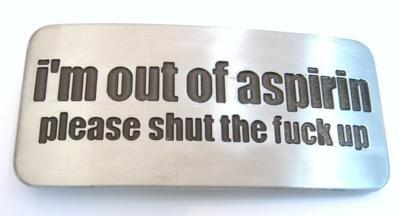 Placa falando sobre aspirina