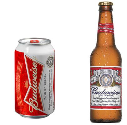 Nova garrafa e nova lata da cerveja Budweiser