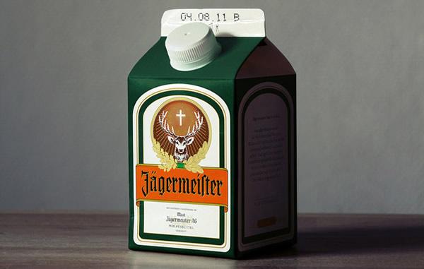 Caixa de leite com Jagermeister