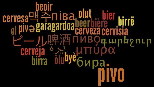 Imagem com a palavra cerveja em vários idiomas