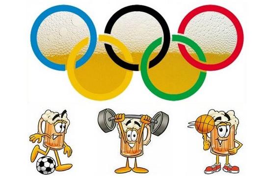 Símbolo das olimpíadas com copos de cerveja
