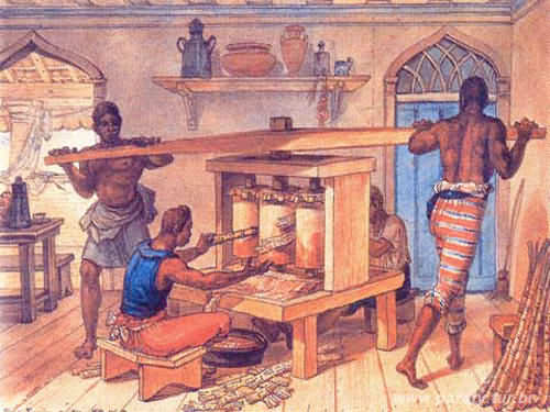 Produção de cachaça na época dos escravos