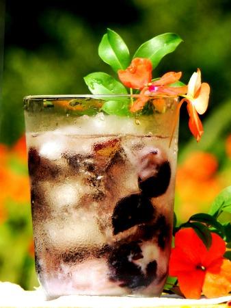Drink de jabuticaba com uma flor dentro
