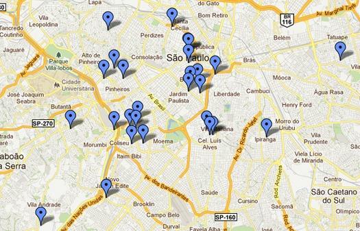 Mapa de onde terá cerveja Duff em São Paulo