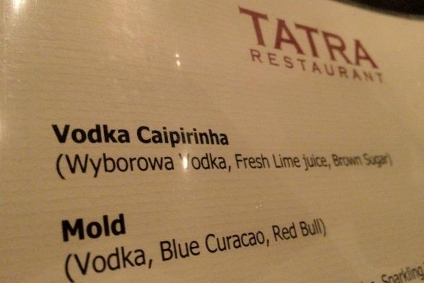 Cardápio de um restaurante polonês