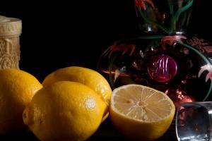 Garrafa de tequila com shot de limões