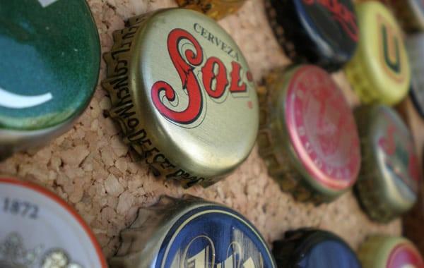 Coleção de tampinhas de cerveja