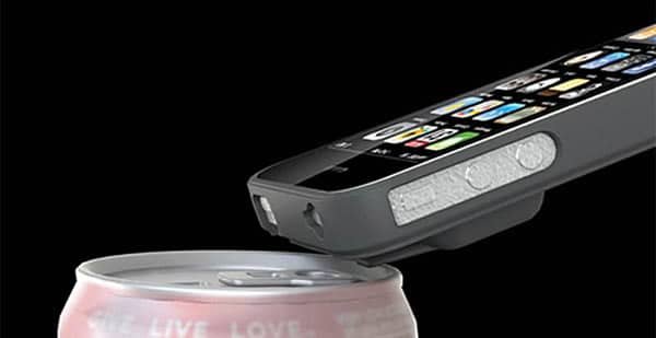 Case pra iPhone 4 abrindo uma lata