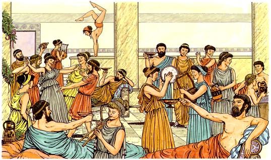 Um desenho com gregos bebendo cerveja