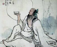 Desenho de um chinês bebendo cerveja