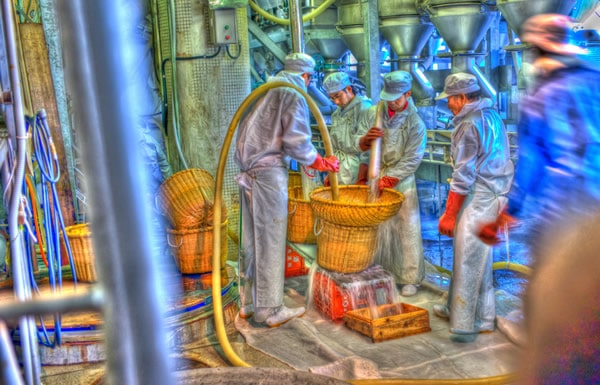 Homens produzindo o Saquê