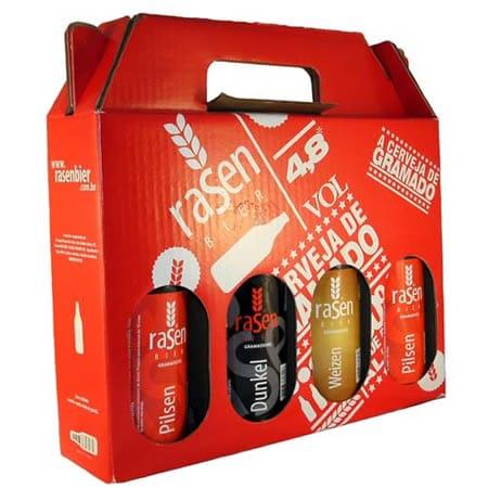 Caixa com garrafas da cerveja Rasen