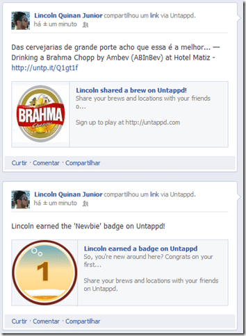Exemplo de postagem do Untappd no Facebook