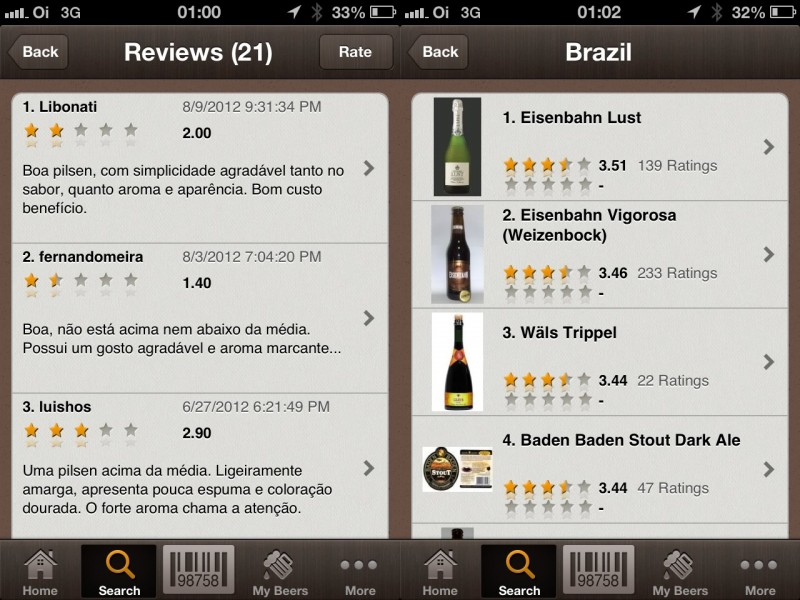 Telas do App Beer Buddy