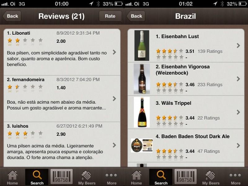 Telas do App Beer Buddy