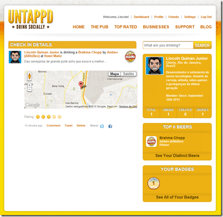 Tela do App Untappd