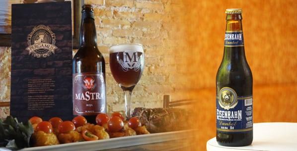 Garrafas das  cervejas Eisenbahn Dunkel e Mastra