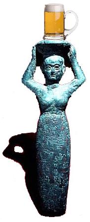 Estatua da Suméria sobre cerveja