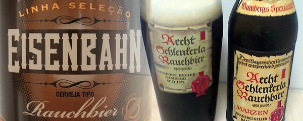Garrafas das cervejas Aecht Schlenkerla e Eisenbahn Rauchbier