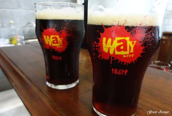 Copos da cervejaria Way Beer cheios