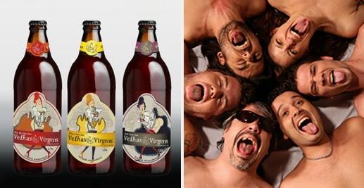 Garrafa da cerveja da banda Velhas Virgens