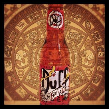 Garrafa da cerveja Duff Fim do Mundo