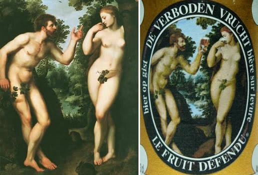 Rótulo da cerveja Hoegaarden Verboden Vrucht junto com o quadro Adão e Eva