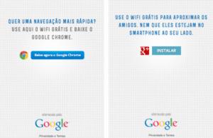 Página de abertura do google oferecendo o browser ou o site de buscas