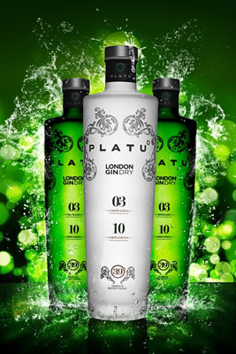 Garrafa do Gin Platu, do estilo London Dry Gin