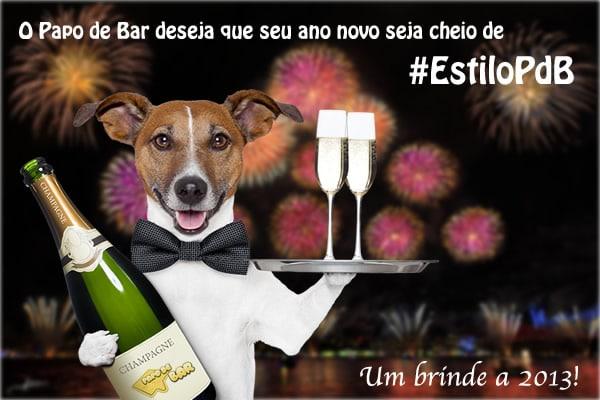 Retrospectiva 2012, um cachorro carregando champagne